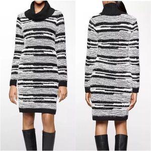Black & White Fuzzy Sweater Dress // Calvin Klein